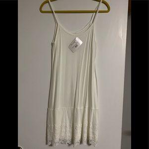 White Embroidered Slip Hem- Shirt Extender